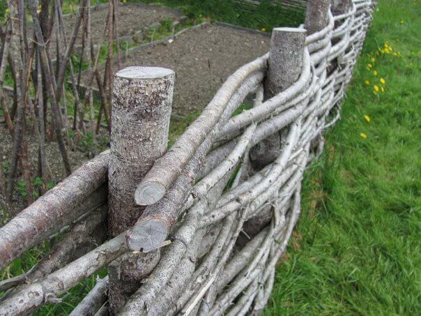 Rustic Raw Wood Woven Wattle Fence