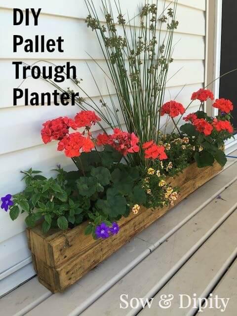 Beginner-Friendly Pallet Wood Trough Planter
