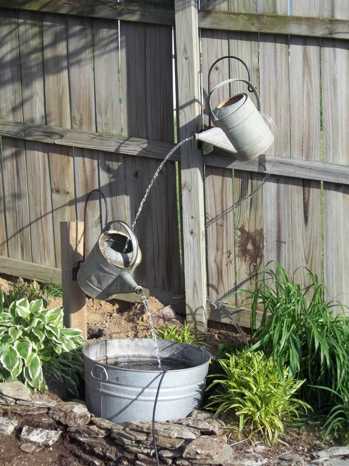 Whimsical Floating Watering Cans Water Feature