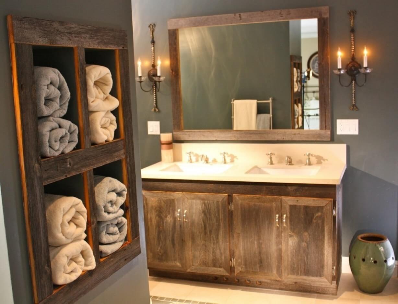 Antique Wood Vanity and Towel Organizer
