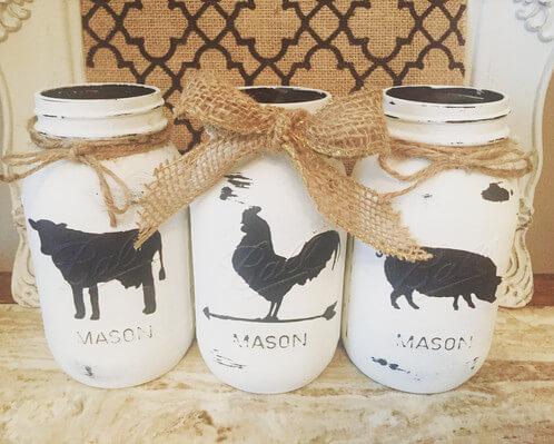 Stenciled Barnyard Mason Jar Art