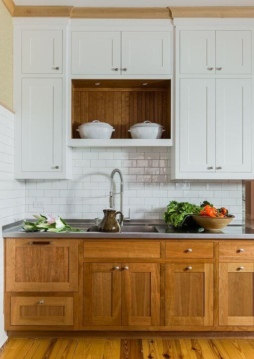 Contrast Cabinets with Raw Wood and White
