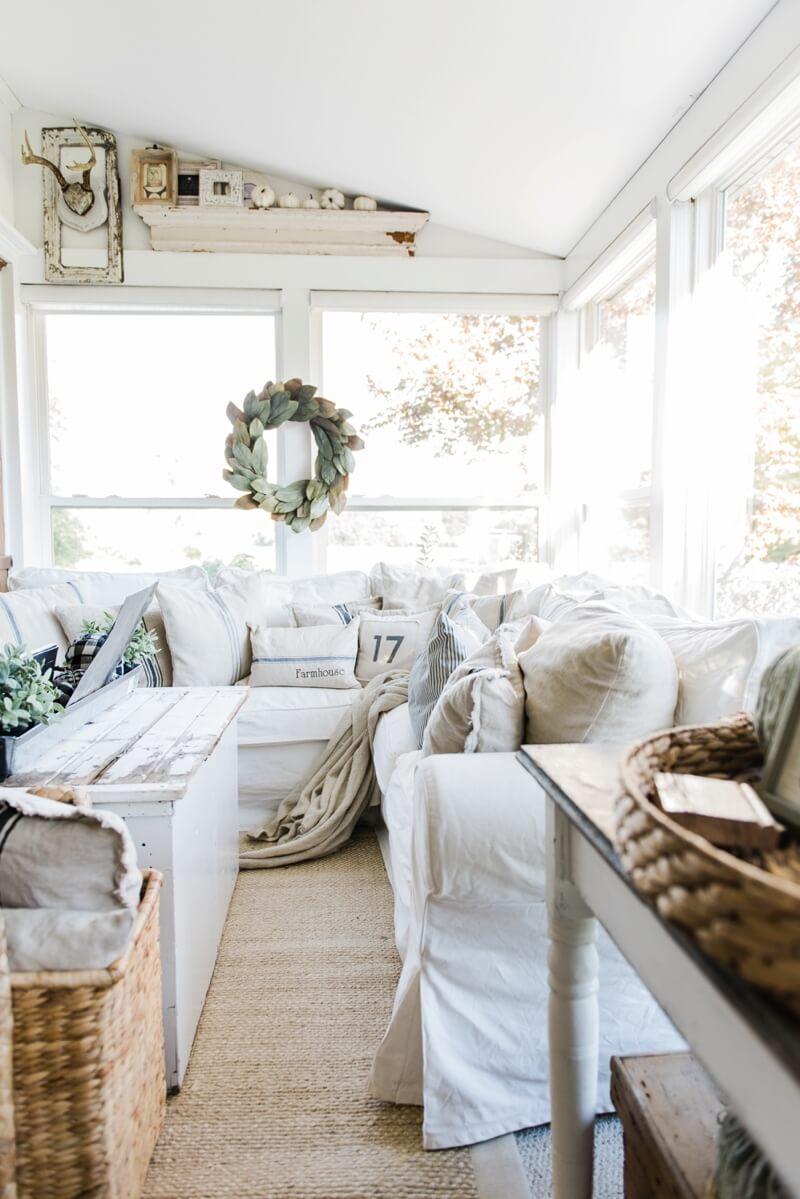 Coastal Design Inspired Farmhouse Sun Room