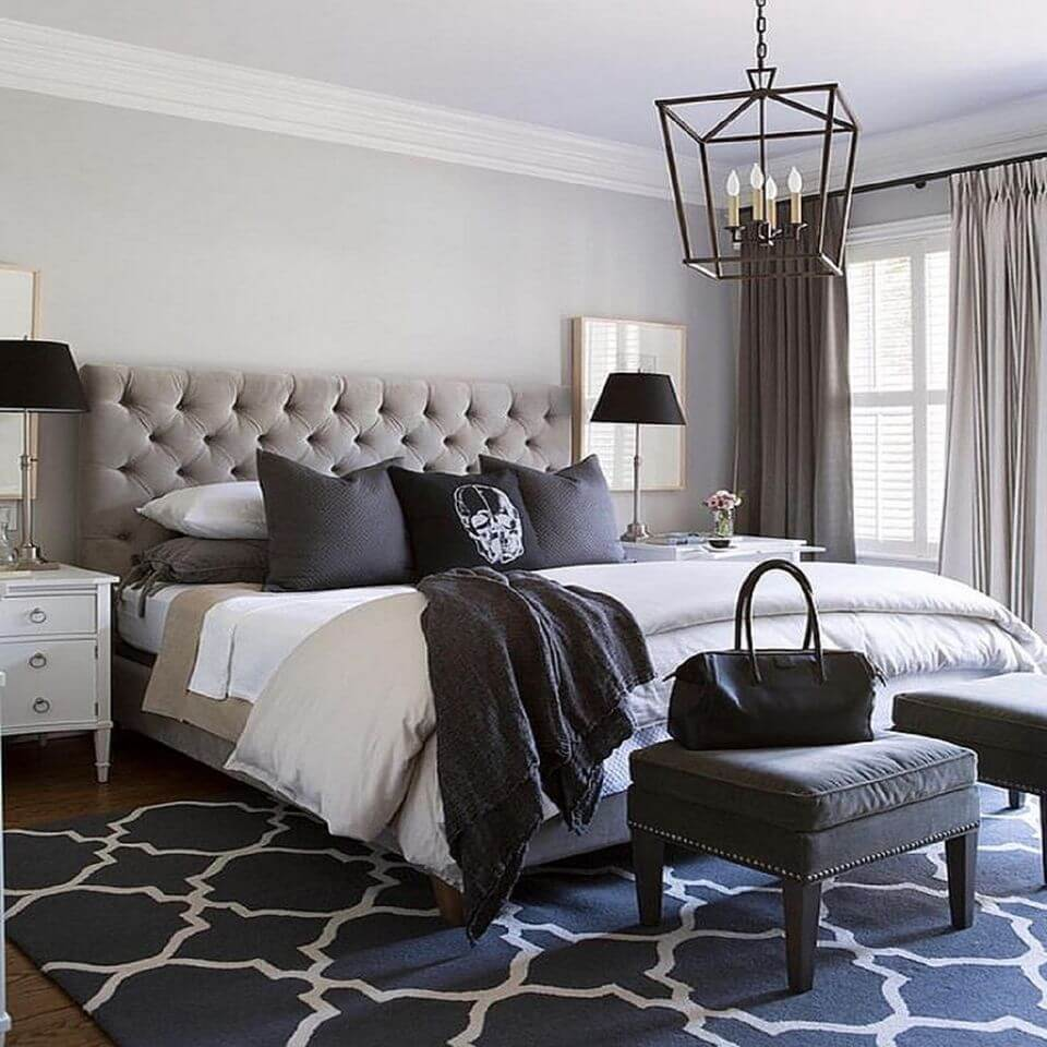 Natural Light and Slight Variations of Grey Create and Ethereal Glowing Bedroom