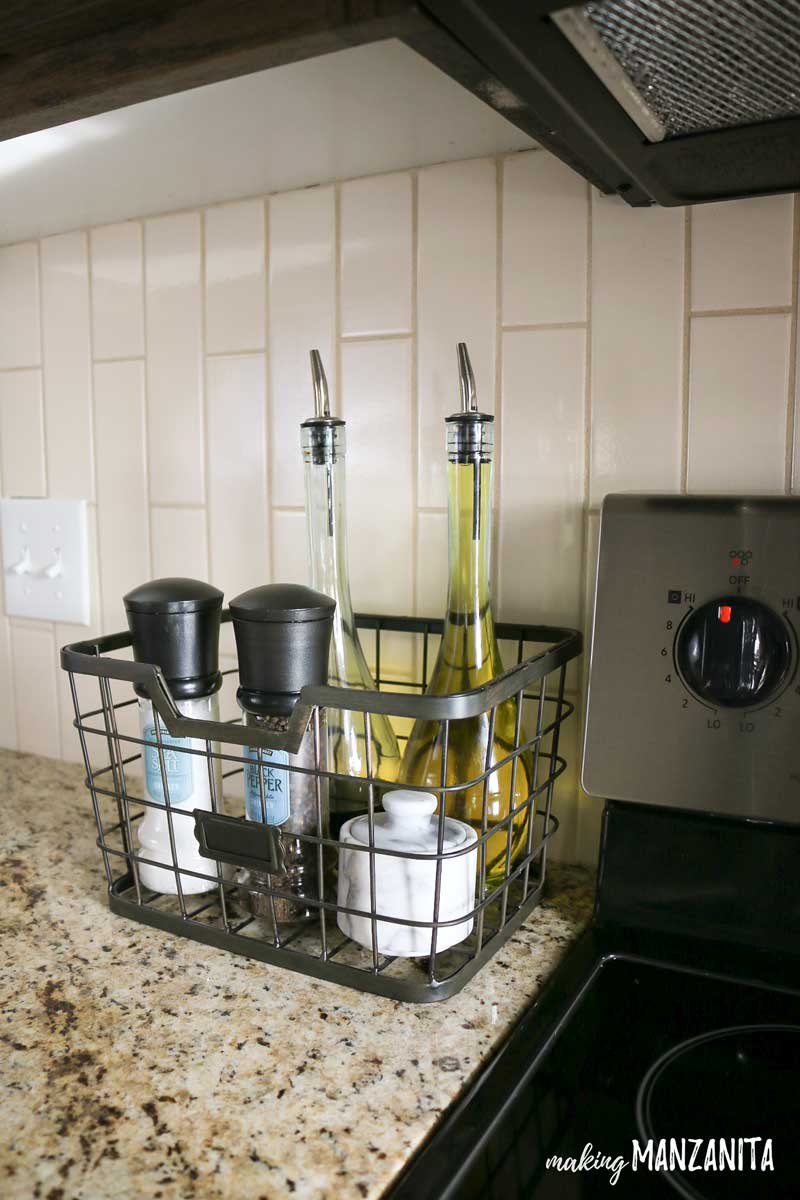 Tall Metal Basket for Stove Top Essentials