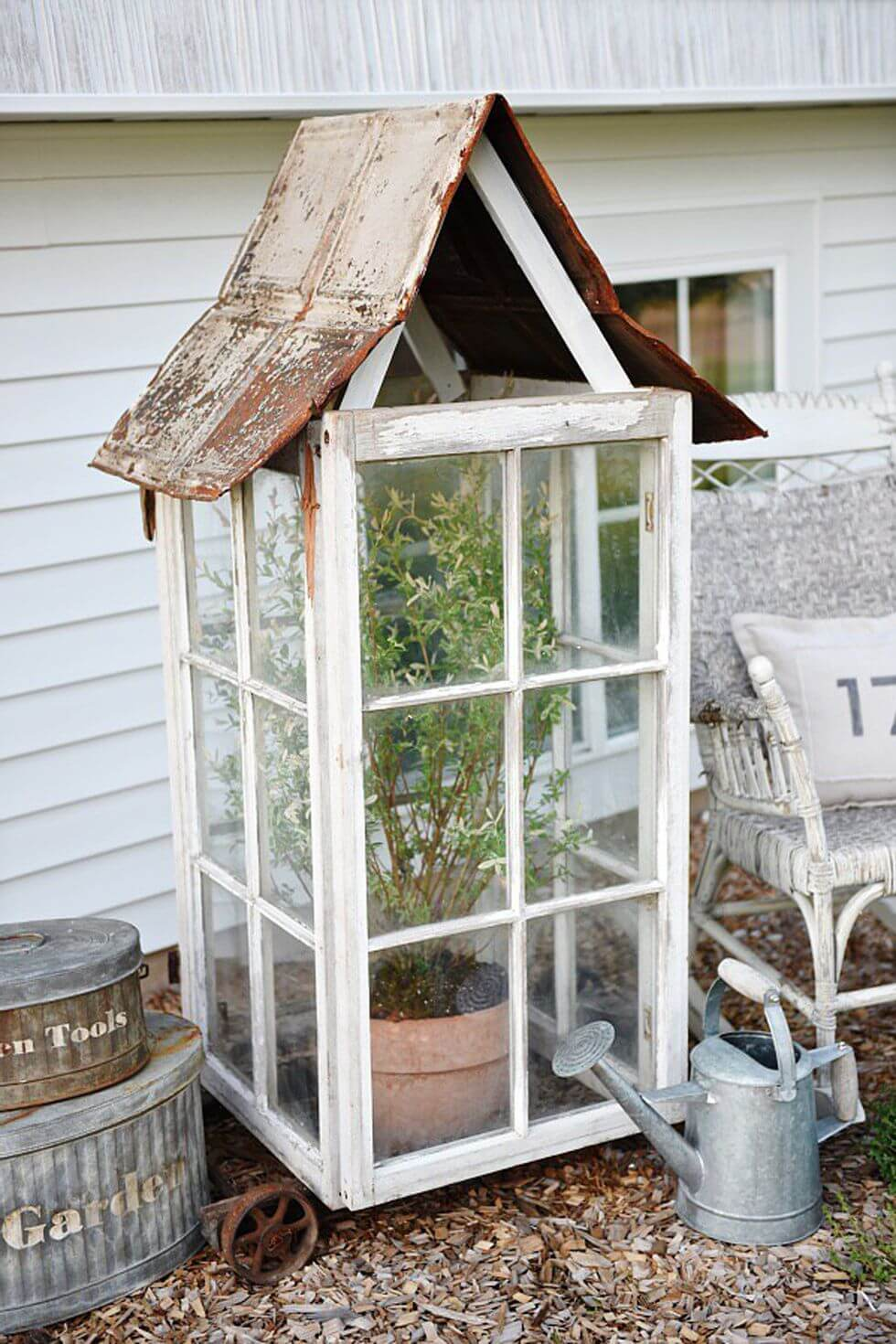 Create a Cute Greenhouse with Window Frames<