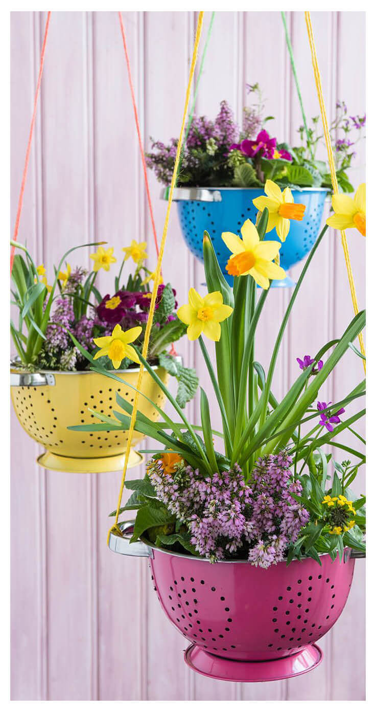 Colorful Colander Springtime Hanging Planters