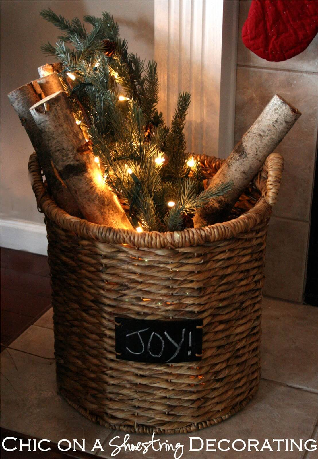 """Joy"" Festive Firewood Basket Decor"