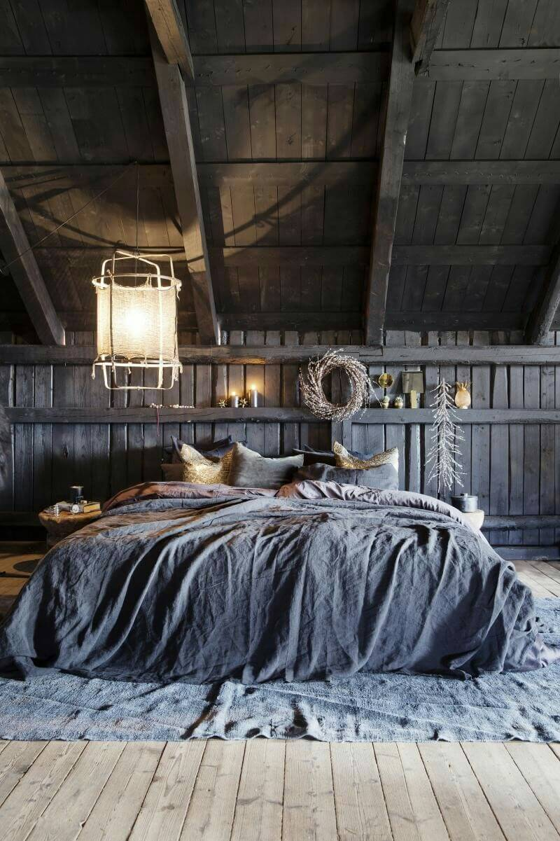 Rustic Barn Bedroom with Gray Bedding
