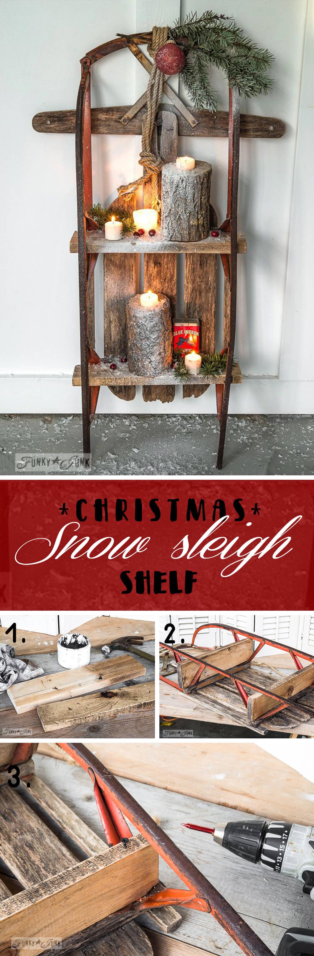 Vintage Sleigh Christmas Shelf Display
