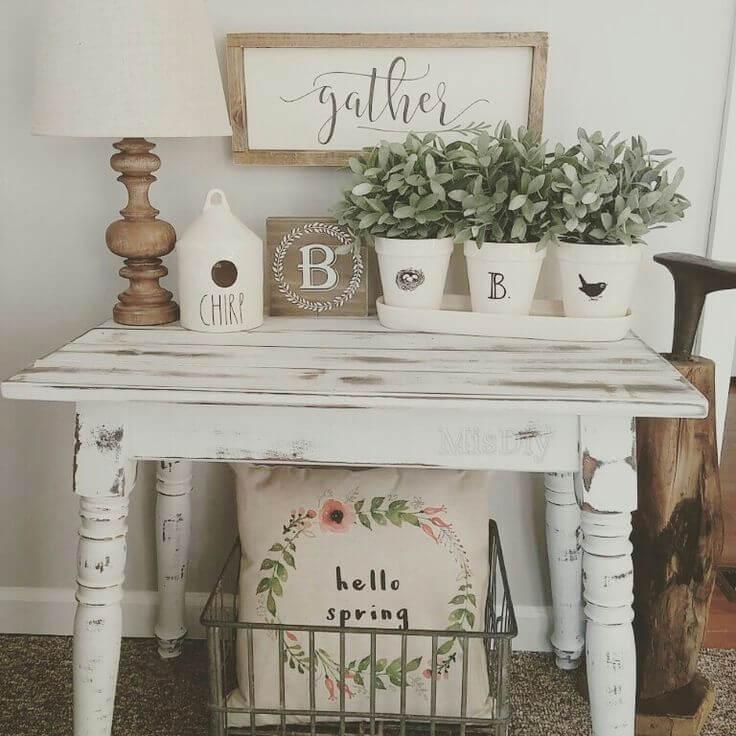 White Planter and White Flower Arrangement