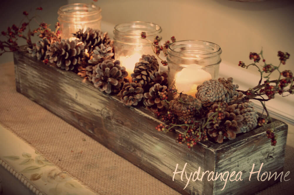 Fall-Inspired Display with Pine Cones and Twigs