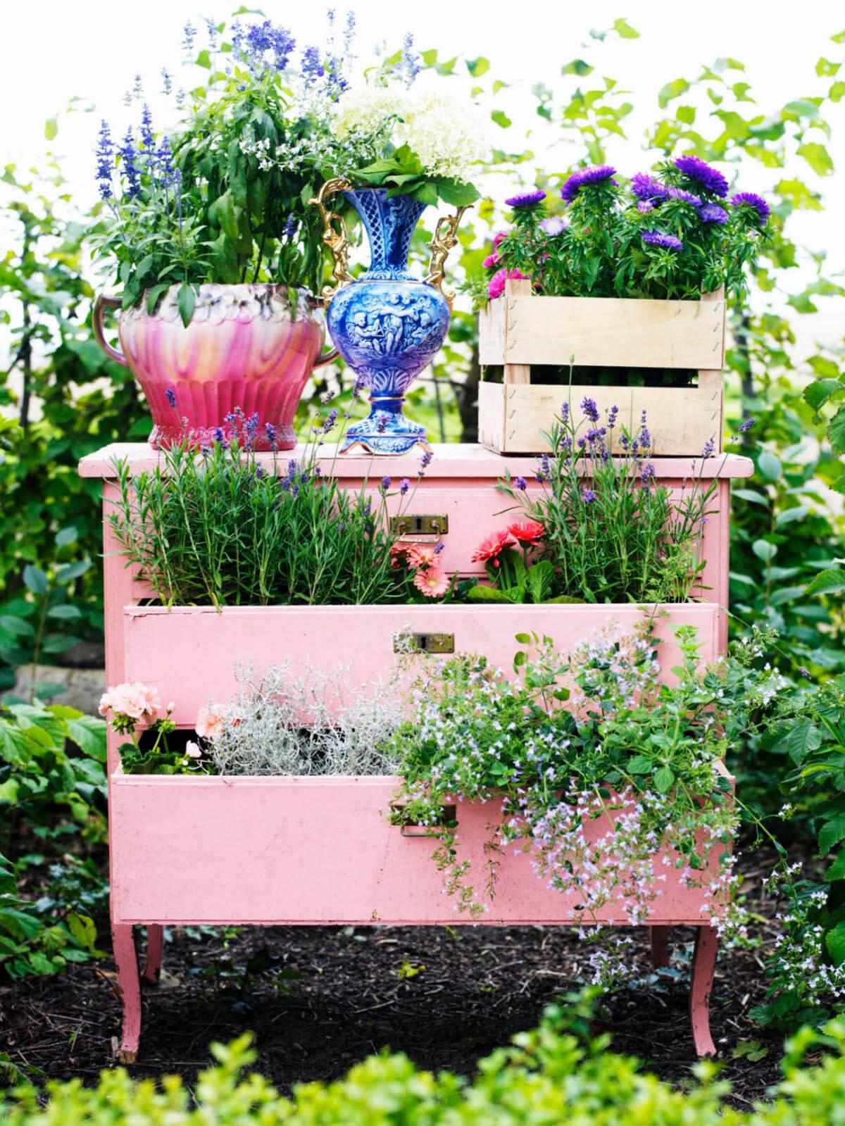 Upcycled Vintage Desk Planter Decoration