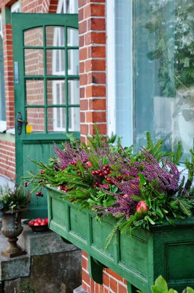 English Farmhouse Style Green Wooden Window Box