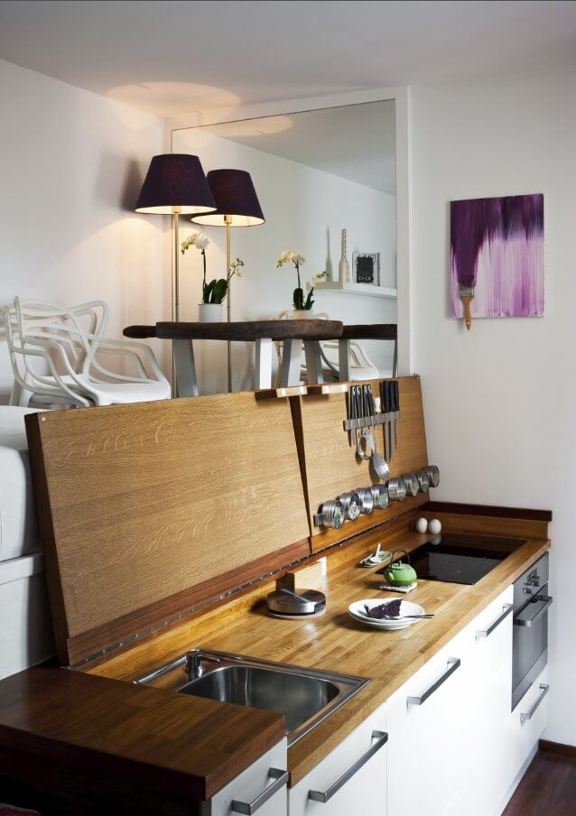 Yacht-Inspired Tiny Hideaway Kitchen for Small Apartments