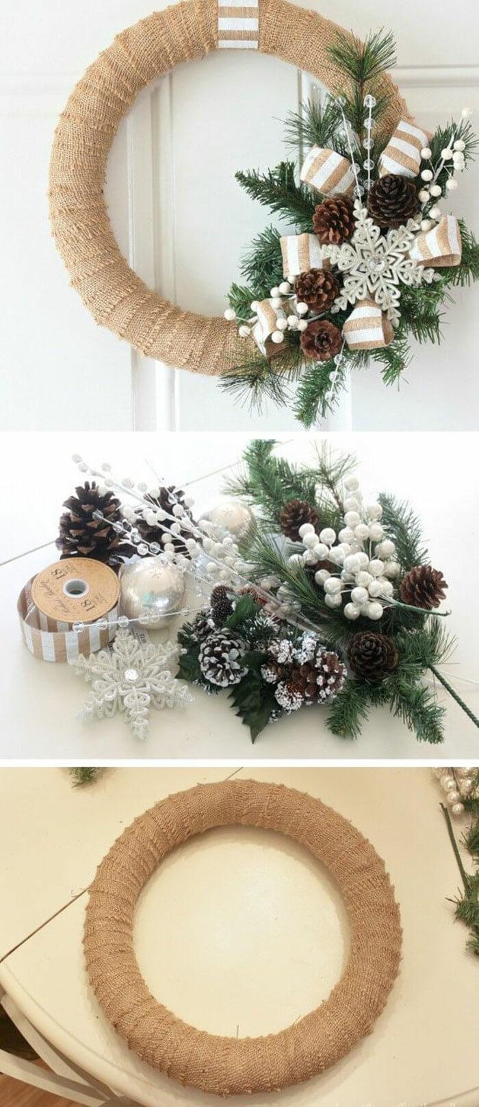 Easy Wrapped Christmas Wreath Ideas