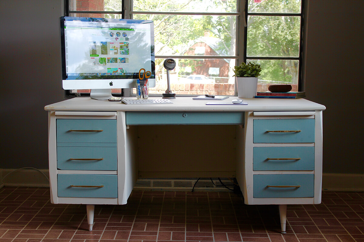 Early Modern Style Desk with White and Blue Paint