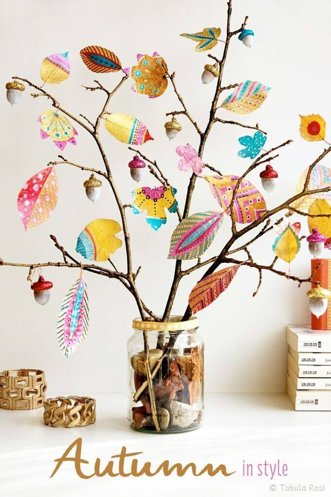 Colorful Fall Inspired Desktop Tree Decoration