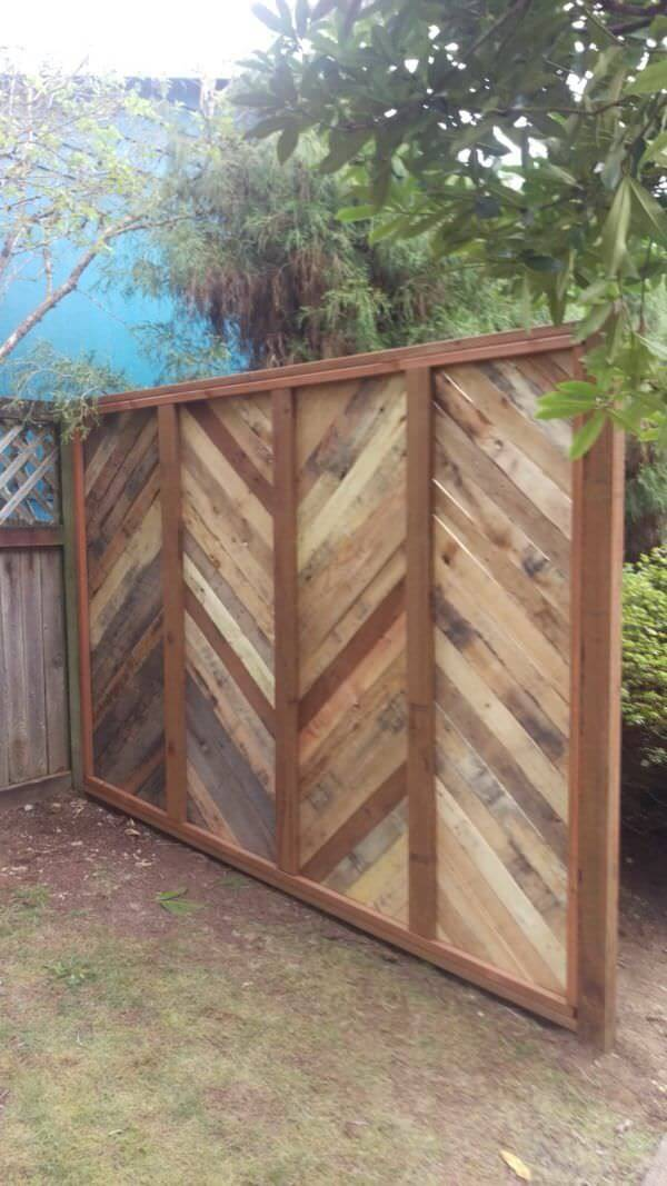 DIY Wooden Chevron Panel Fence