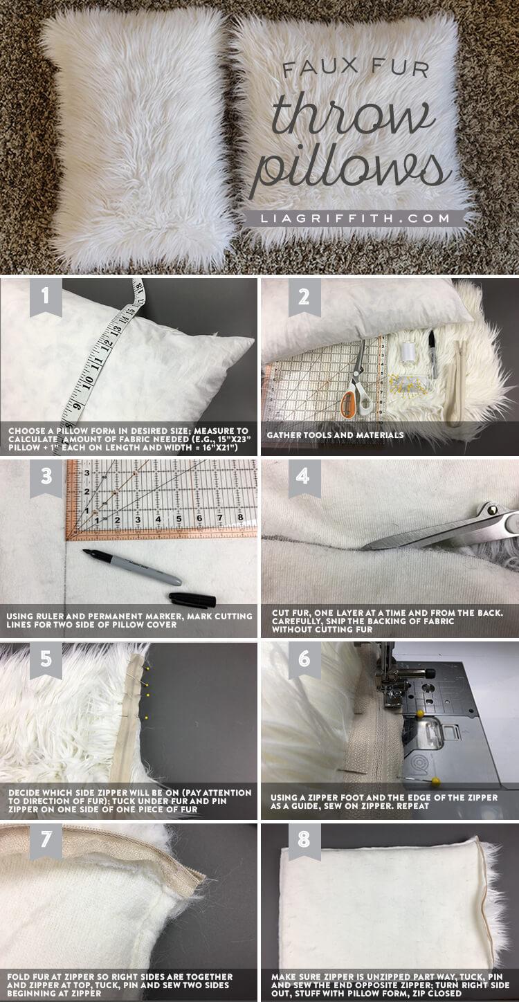 DIY Faux Fur Throw Pillows
