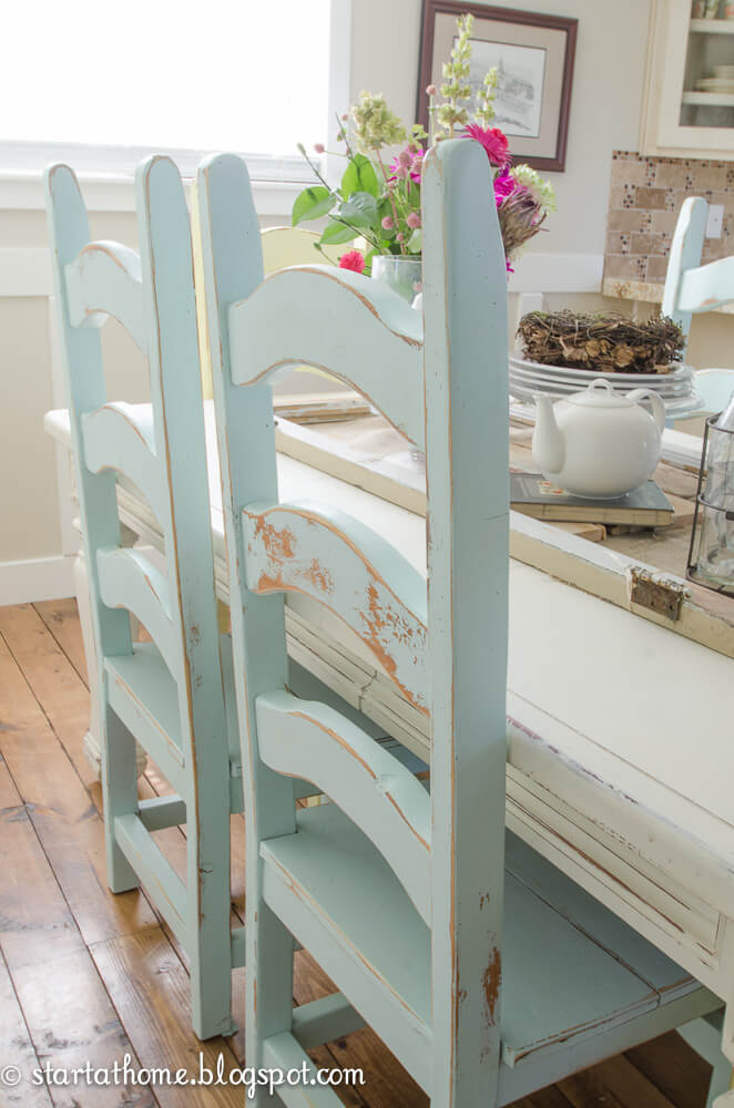 DIY Shabby Chic Furniture Idea with Ladder Back Chairs