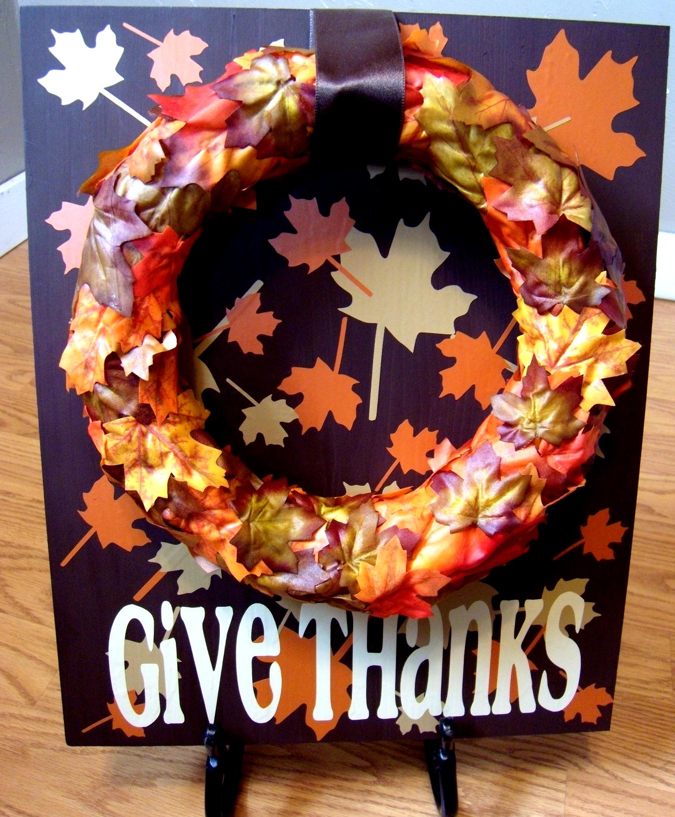 """Give Thanks"" Sign with Easy Faux Foliage Wreath"