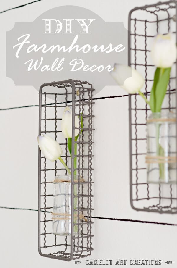 Farmhouse Plant Decor Idea with Metal Baskets