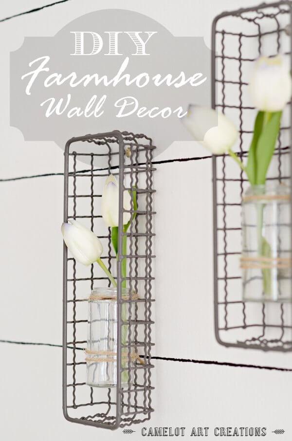 Farmhouse Plant Decor Idea with Metal Baskets