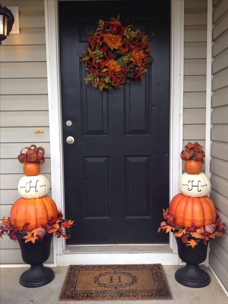 Monogram Pumpkin Fall Porch Planters