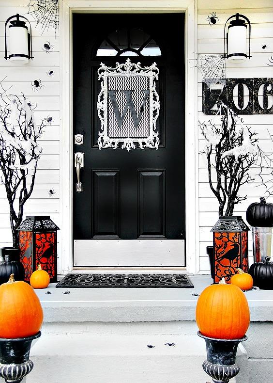 Black Halloween front door