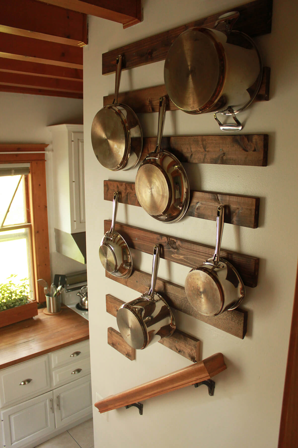 Wood Board Pot Hanging Rack