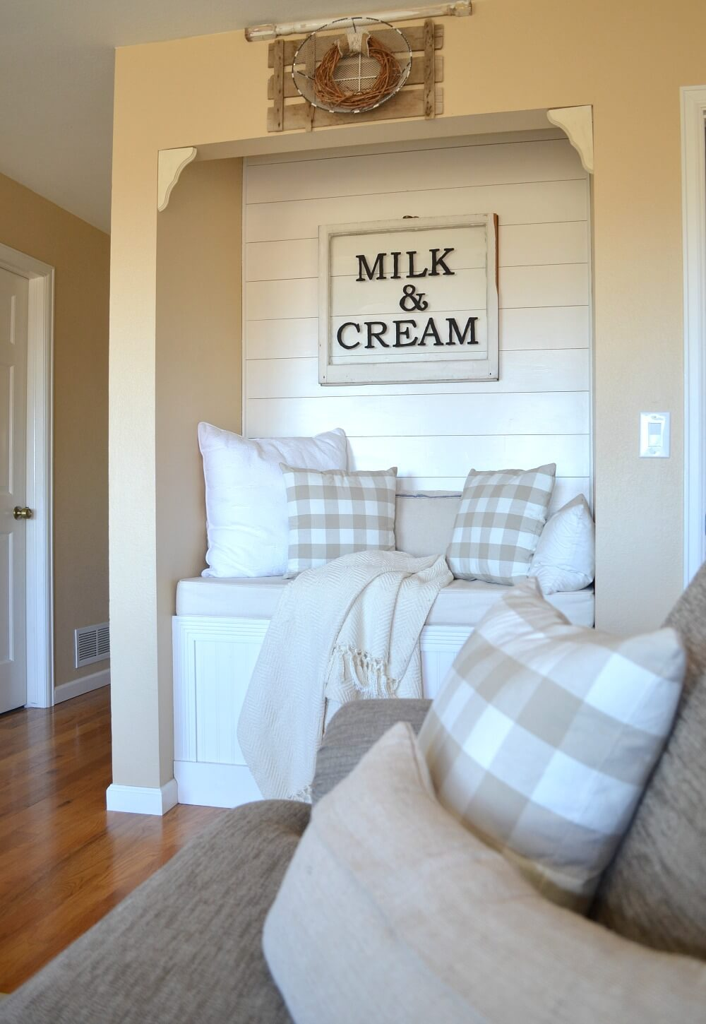 Window Sign for a Seating Nook