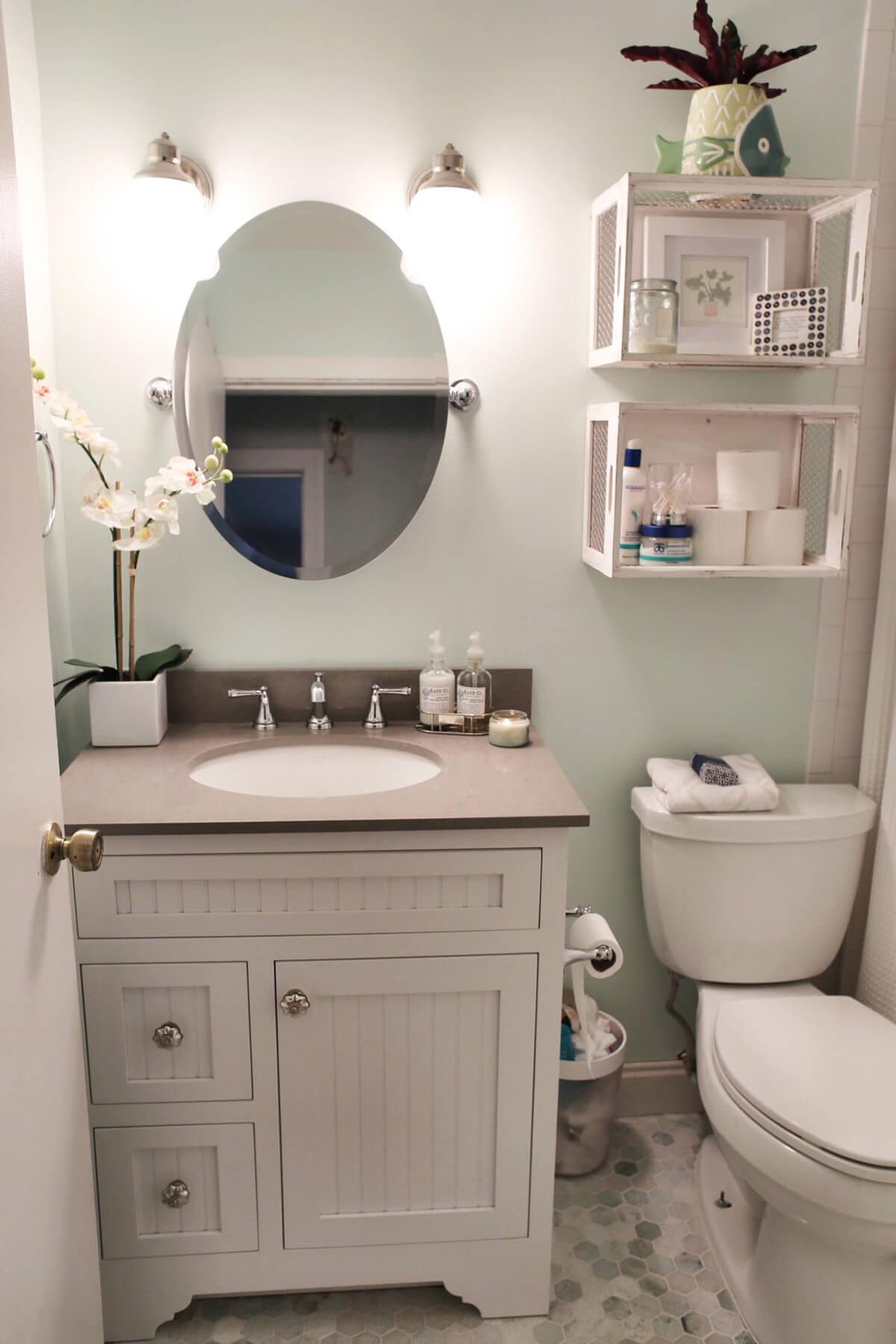 Repurposed Wood Crate Bathroom Shelves