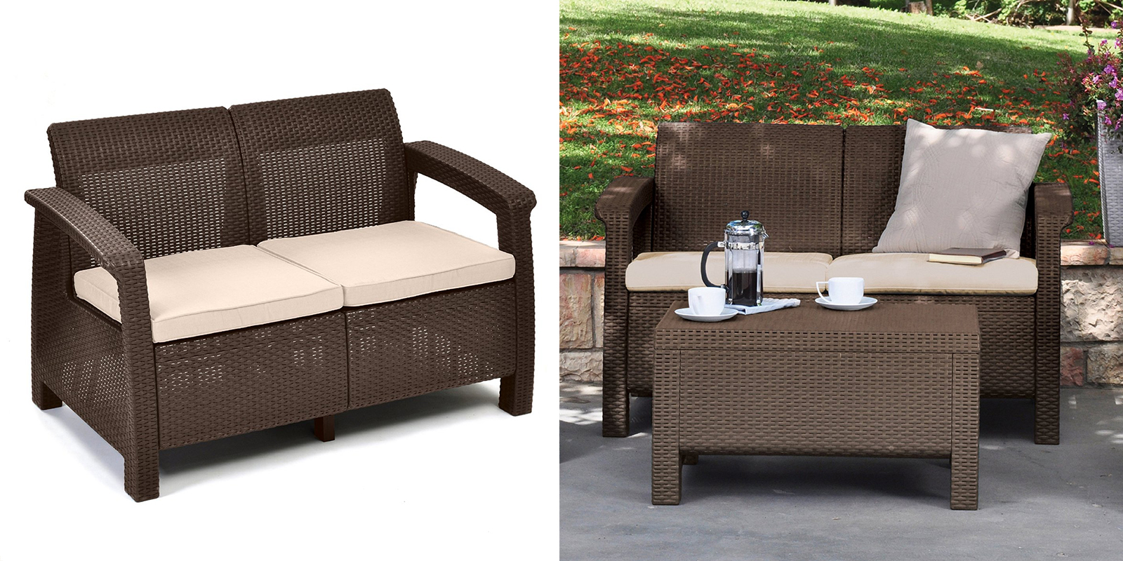 Patio Chair - All-Weather Love Seat with Cushions