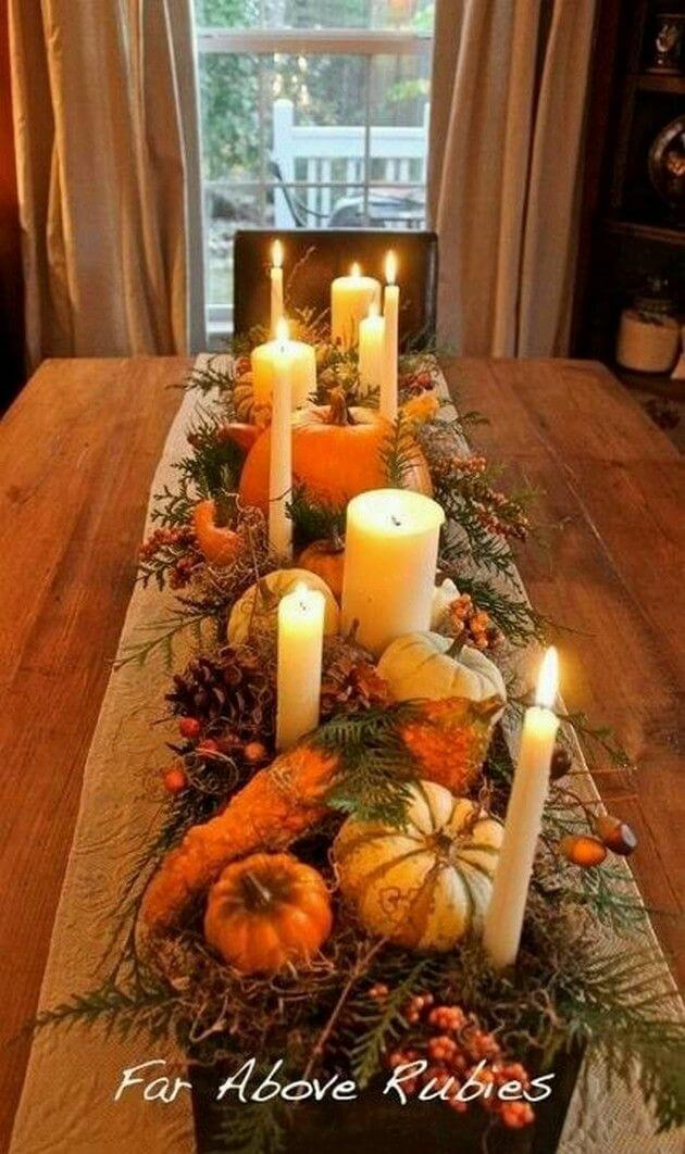 Candles, Greenery, and Pumpkin Tablescape
