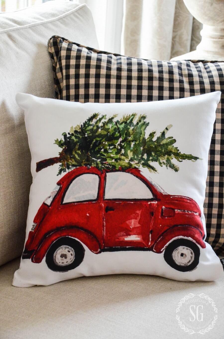 Nostalgic Bringing Home the Tree Throw Pillow