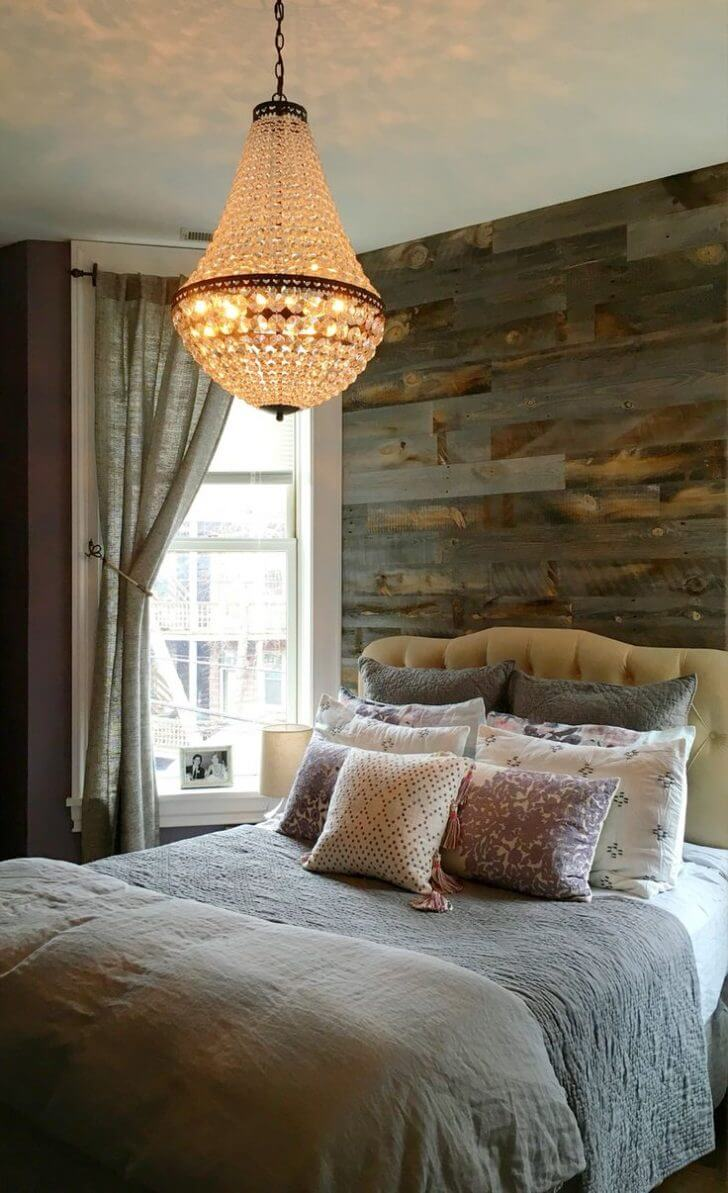 Tufted Headboard and Elegant Chandelier
