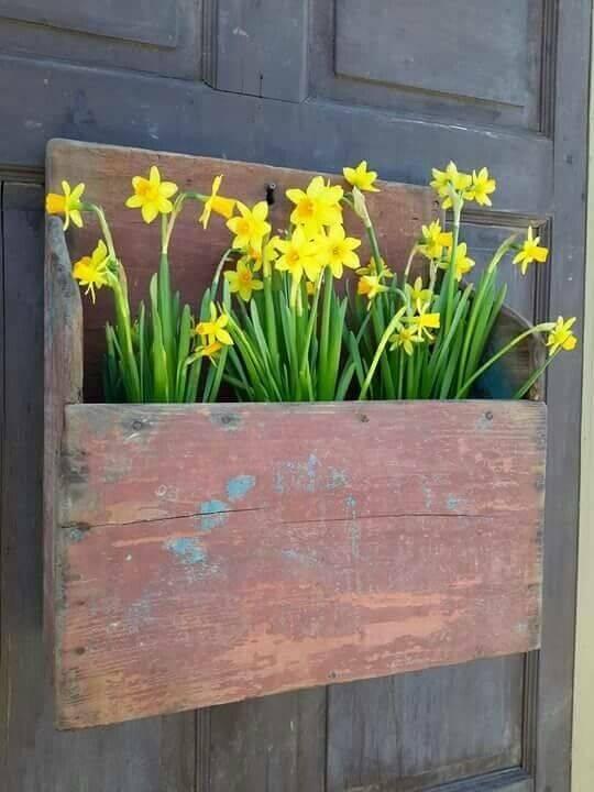 Distressed Wooden Door Hanger With Daffodils