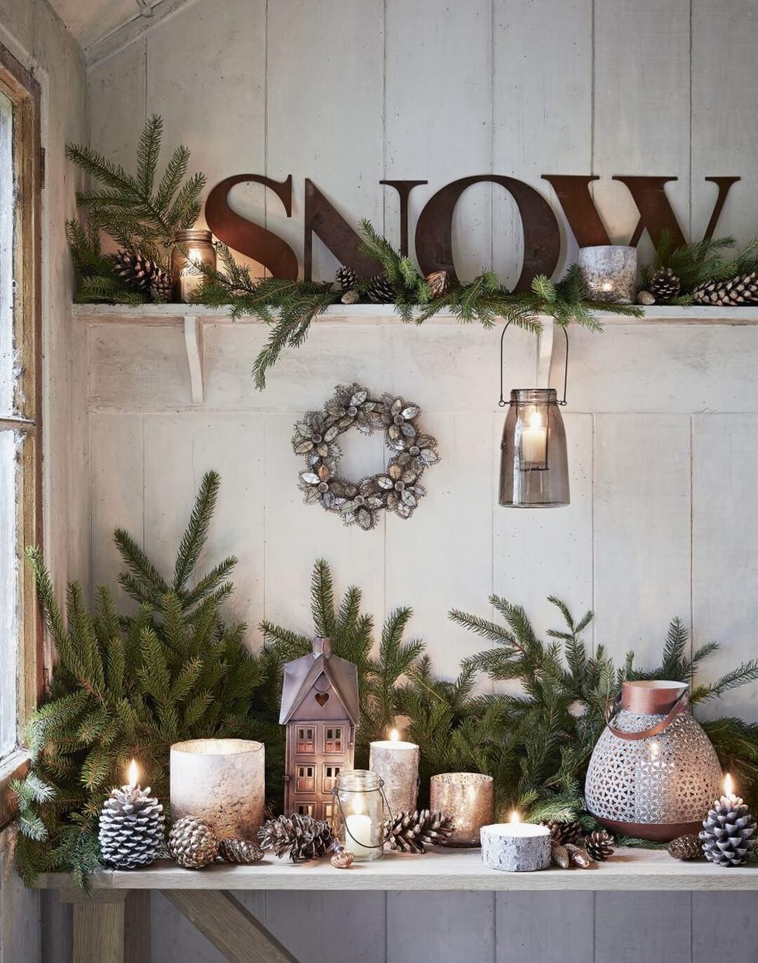 Seasonal Mixed Candleholder Shelf Assemblage