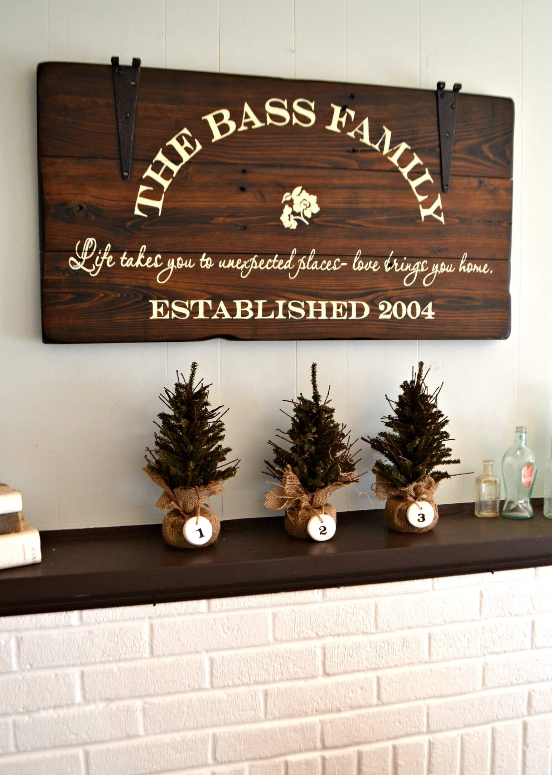 Elegant Stained Wood Family Name Sign