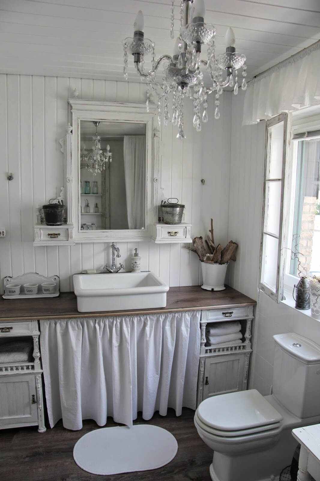 Shabby Chic Bathroom Design with Ruffle Details