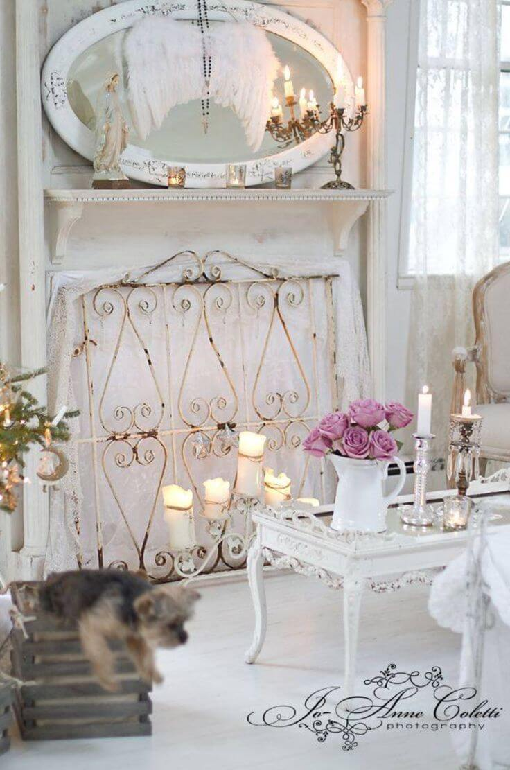 Mantel Mirror with Angelic Wings