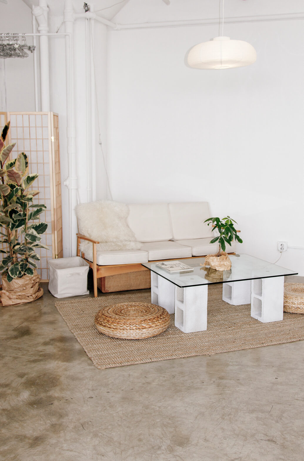 Simply Constructed Cinder Block Coffee Table