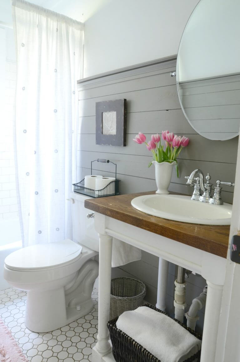 Bright White Sink with Statement Wood Countertop