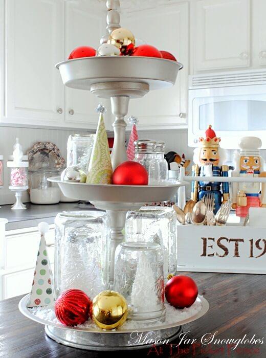 Mason Jar Snow Globes On A Three-tiered Tray