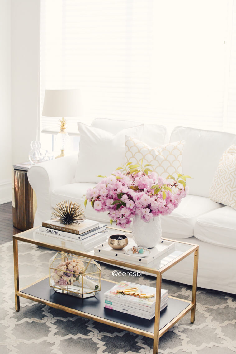 Retro Glam Gold and Glass Floral Coffee Table Display