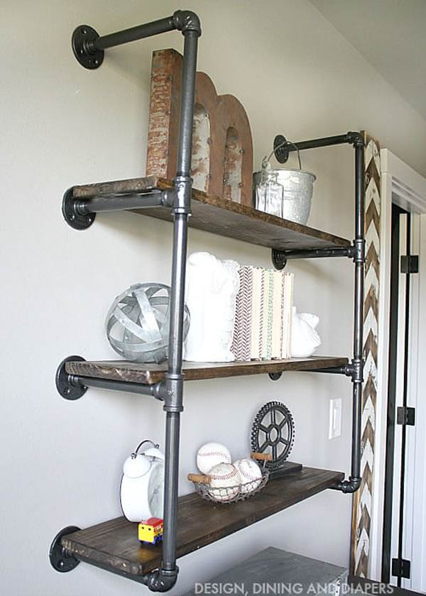 DIY Rustic Industrial Plumbing Pipe Bookshelf