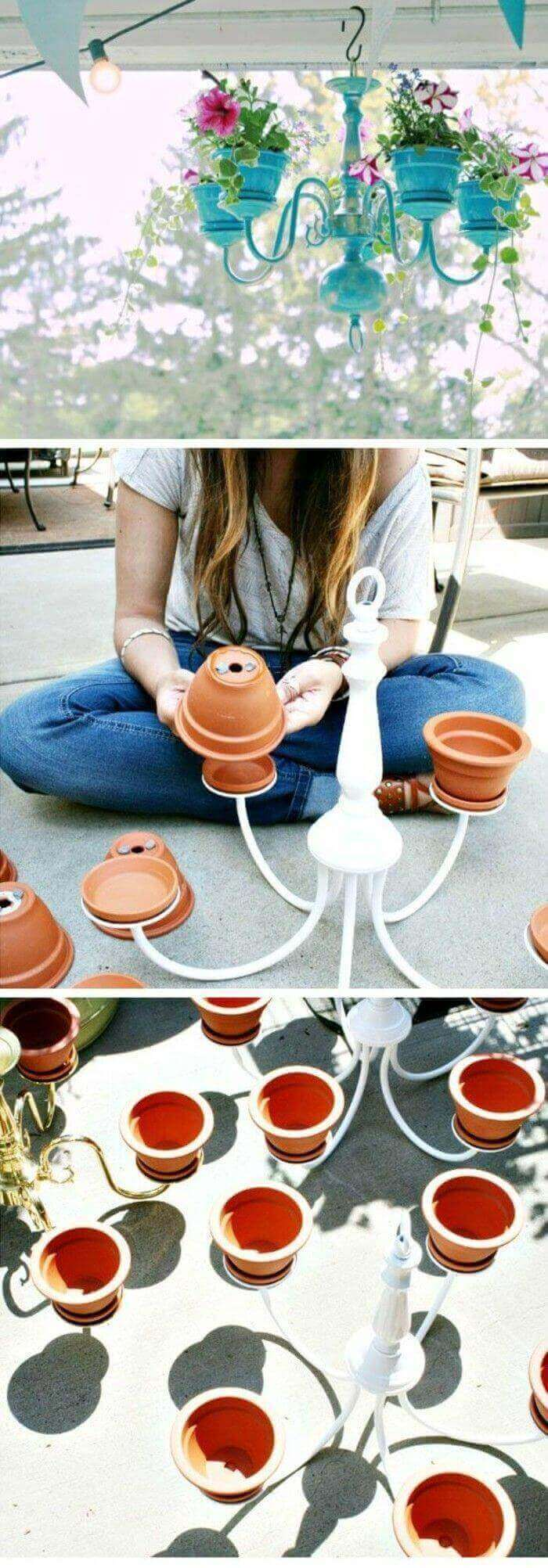 DIY Clay Flower Pot Craft with Chandeliers
