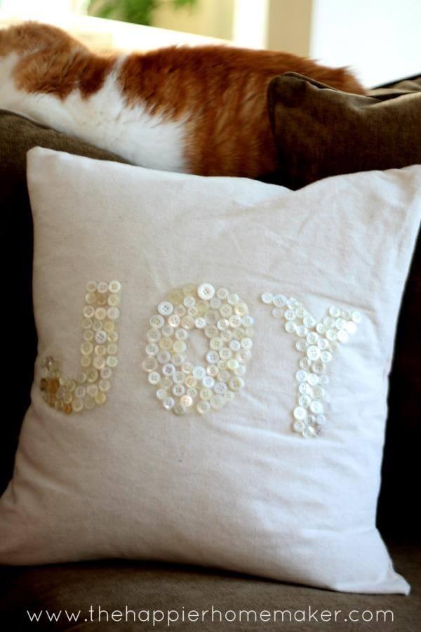 """Joy"" DIY Button Throw Pillow"