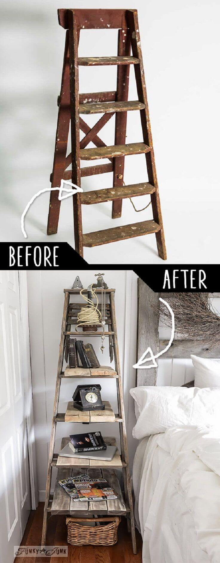 Upcycled Ladder Decoration and Organizer